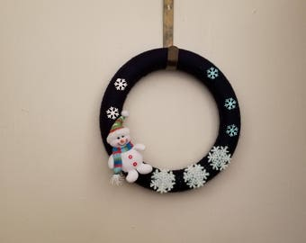 Yarn Wrapped 12 inch diameter Winter wreath with Snowman and snowflakes