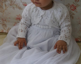 GRACE Girls Christening Sweater , Baptism sweater. Color IVORY