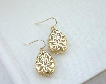 Gold Filigree Earrings, Boho Teardrop Filigree Earrings, Boho Wedding Bridesmaid Gifts Gold Lace Modern Pear Filigree Nickel Free Lead Free