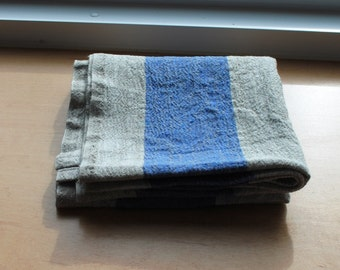 Rustic Linen Table Runner Table Linens Wide Striped Blue Beige Prewashed Heavy Linen