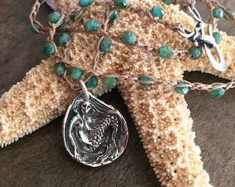 Mermaid Necklace, Crochet Necklace, Mystical Jewelry, Sea Siren, Summer Jewelry, Boho Jewelry, Coastal, Mermaid Jewelry