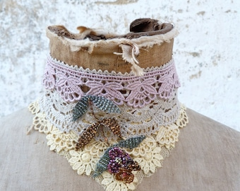 POMPADOUR Handmade in France dyed at home cotton lace & net composition beaded choker necklace