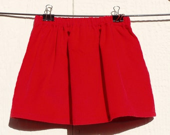 Bright Red Corduroy Elastic Waist Skirt Size Newborn, 3 Months, 6 Months, 12 Months, 18 Months
