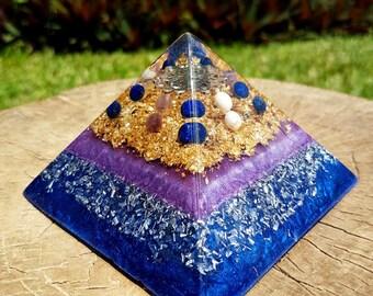 SPIRITUAL GROWTH Orgone Pyramid – Lapis Lazuli, Amethyst and Howlite - to Aid Spiritual Journey and Increase Intuition - Spiritual Gift