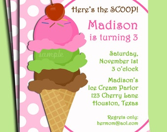 Ice Cream Invitation Printable or Printed with FREE SHIPPING - Pink Bubble Gum on Top Collection