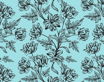 Sea Green Rayon Fabric, Floral Print, Quilting Cotton Fabric, Sewing Decor, Upholstery Fabric, Fabric By The Yard, MIN-FL46G