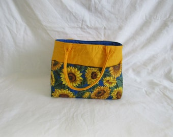 Quilted Yellow and Blue Sunflower Purse