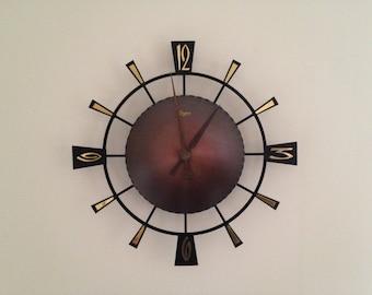 Sunburst  Mid century Vintage Urgos  Wall clock   West Germany