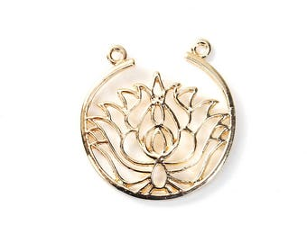 """3 connectors """"Round/lotus flower"""" gold 33 mm x 32mm"""