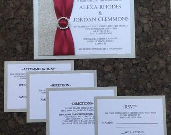 RESERVED Burgandy Glitter Wedding Invitations