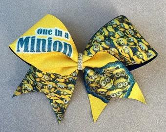 One in a Minion Cheer Bow // Cheer Bow // Glitter Cheer Bow // Yellow Cheer Bow // Big Cheer Bow // Bling Bows