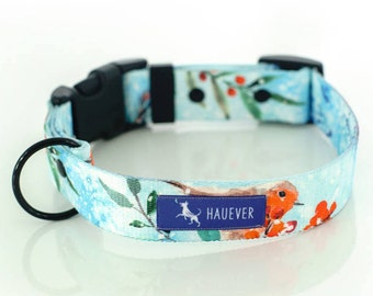 Dog collar |ROBIN| watercolor, winter pattern, christmas pattern, french buldogs, collar with buckle