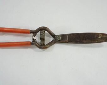 Vintage Garden Clippers, Small Hand Tool, Garden Tool  Corona Metal Shears, Orange Rubber Handles, Shrub Boxwood Clippers FREE SHIPPING