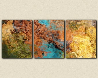 "Triptych art stretched canvas print, 20x48, in earthy hues, from abstract painting ""Chocolate Persuasion"""