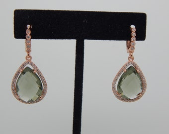 Sterling Silver Green Amethyst Earrings,Rose Gold Earrings, Dangle Earrings, Gift for Her, Post Earrings,
