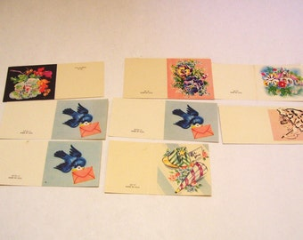 8 Vintage Bridal Shower Gift Cards Bluebirds Unused Mid Century