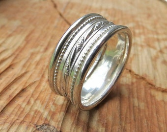 Men's Wedding Band in Sterling Silver Wide Wedding Band Unisex Wedding Ring Wide Band Ring Men's Ring Thumb Ring Boho Stacking Ring