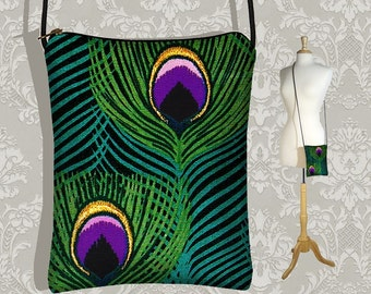Mini Purse Passport Bag cross body small cute handmade - Peacock Feathers - InStock