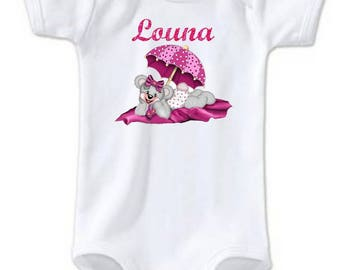 Umbrella personalized with name and baby bear Bodysuit