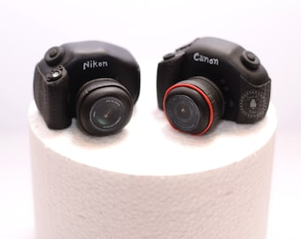 Fondant set of 2 DSLR Camera Cake Toppers - wedding or special occasion