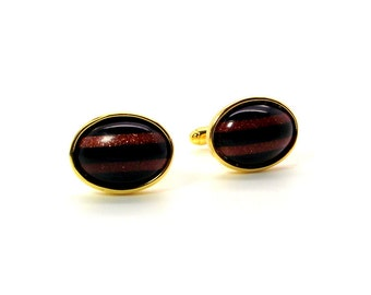Stripes Black Onyx and Goldstone Cufflinks, Black and Rust Cufflinks, Black and Gold Cufflinks