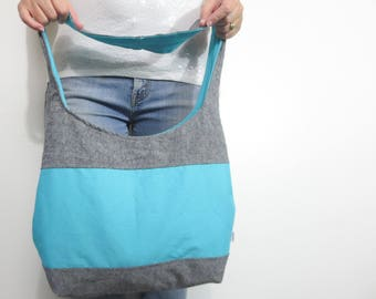 Color block hobo bag. ready to ship and on sale. large shoulder purse in black/deep gray linen blend accented with aqua.