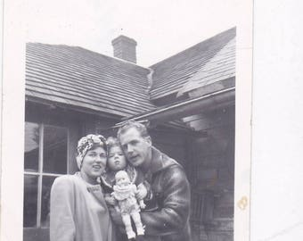 Mom, Dad and the Baby with the Baby - Found Photograph, Original Vintage Photo, Photograph, Old photo, Snapshot, Photography,