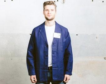 Vintage SWEDISH Work Jacket . Mens 80s Indigo Blue Deadstock Sanfor Work Clothes French Style Chore Coat Workwear . size Extra Large XL