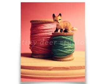 Fox Thread - Fox Photographic Print - Kid's Room, Nursery, Still Life, Kids Decor, Retro Photography