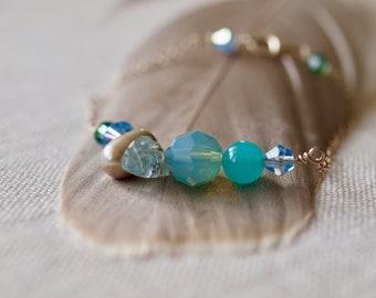 aquamarine raw stone with mint Swarovski crystals bracelet, seafoam green friendship bracelet, sterling silver bar bracelet