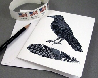 Crow Stationery Set - Set of 8 Blank Inside Card Set - Crow and Black Feather Notecards