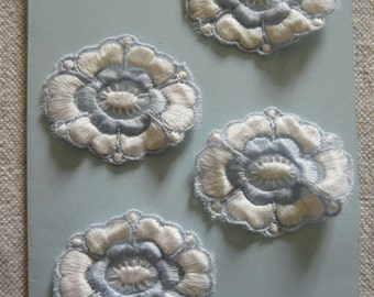 Vintage Embroidered Flower Motif Craft/Card Making Embellishments x 4 or Sewing Trim