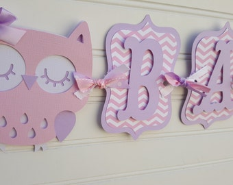 Owl Baby Shower Banner, It's A Girl banner, Baby Shower Banner, Baby Shower Decorations, Purple and Pink banner. Owl baby shower decoration