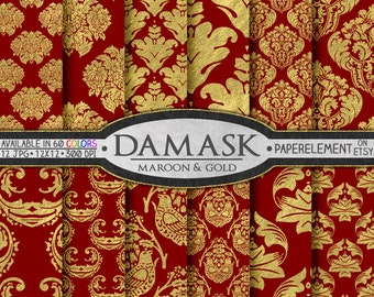 Maroon and Gold Wedding Damasks - Metallic Gold Damask Papers for Printable Gold and Maroon Wedding Backdrops - Instant Digital Download