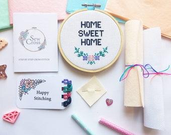 Home Sweet Home Cross Stitch Kit - Floral Cross Stitch - Modern Cross Stitch -New Home Gift - Embroidery Kit - Beginners Cross Stitch - UK