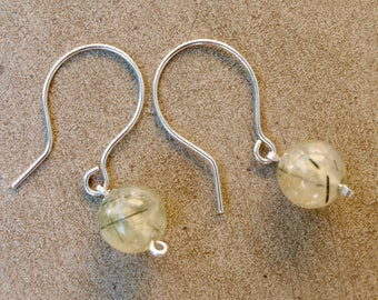 Gorgeous prehnite and silver earrings