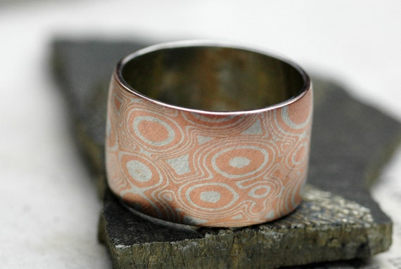Mokume Gane Wide Band Ring in Argentium Silver and Copper- Made to Order Wedding Ring