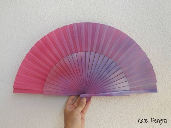 Two Tone Purple and Pink Hand Fan Large