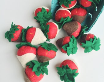 Felt Food Pretend Play Chocolate Strawberries, lifelike Handmade Play Food, Play Kitchen