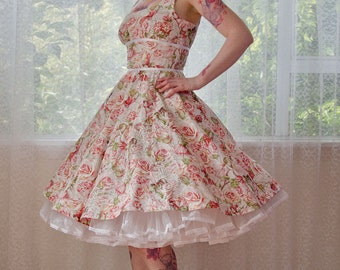 "1950's Style ""Rhoslyn"" Fairy Full Circle Skirt Dress with Scoop Neckline and Ribbon Trim - custom made to fit"