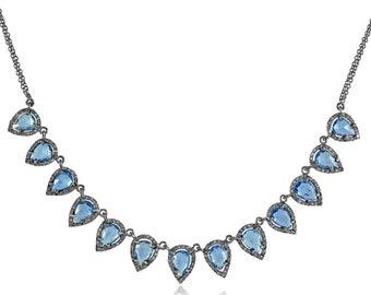 Blue Sapphire Gemstone Pave Diamond Jewelry Designer Chain Handmade Fashion Silver Necklace NEMJ-465