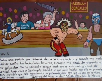 Ex-vote exvotee Contemporary altarpiece Theme Mexican wrestling