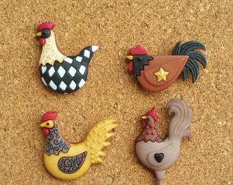 Rooster Push Pins or Magnets