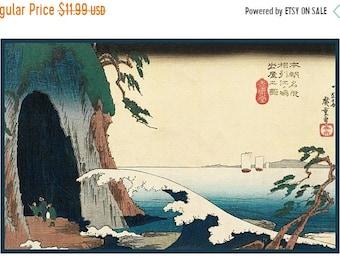 GREAT SALE Hiroshige Cave at Enoshima Island Counted Cross Stitch Chart -  Japanese Woodcut Artist Design