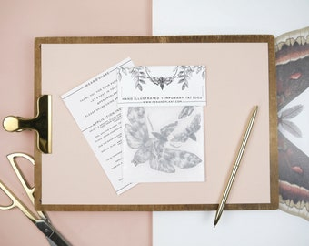 Hawkmoths Hand Drawn Temporary Tattoo Set