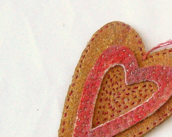 Felt heart painted recycled hand embroidery Christmas