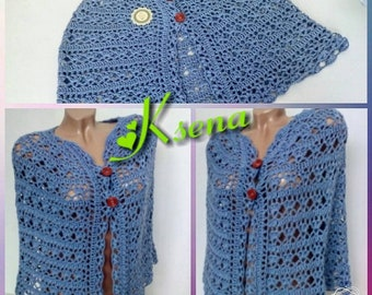 Crochet Capelet, Crochet Poncho, Violet knitted poncho, Womens shawl, Crochet shawl, Womens shawlette, Bride poncho, ladies crochet shawl