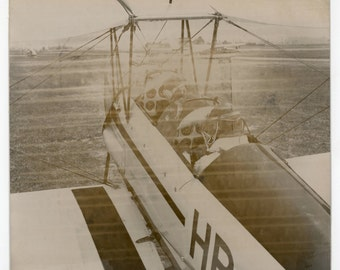 Ghostly aviators - original vintage photo - airplanes, pilotesflying, ghostin a haze