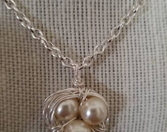 Birds nest charm and necklace. Mothers Day, Birthday,New mom