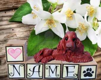 Irish Setter Dog PERSONALIZED with your dog's name on blocks hand sculpted by Sally's Bits of Clay